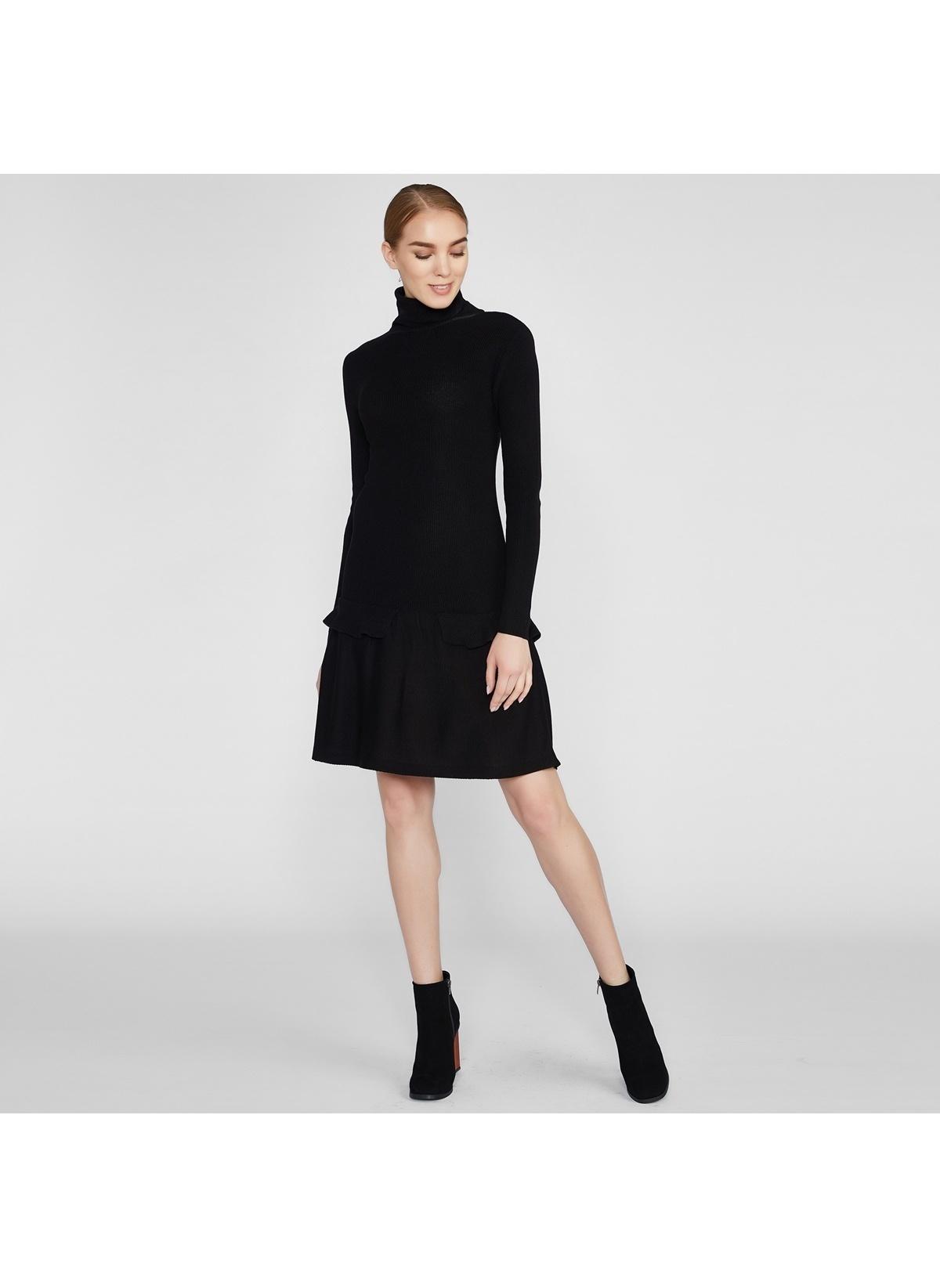 103debbfc5c4d Vekem-Limited Edition Kadın Dik Yaka Triko Elbise Siyah   Morhipo ...